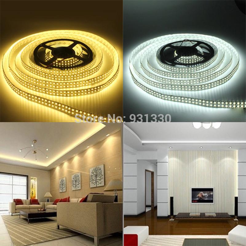 5M Double Row Tube 5050 600 LED Warm White Non-Waterproof Strip Light(China (Mainland))