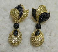 Dense Silver earrings for women black and yellow  jewelry sterling silver jewelry