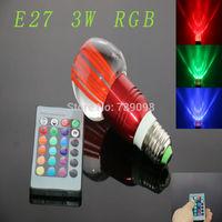 E27 3w RGB Crystal LED Light Red Bulb With IR Remote Controller (85V-265V)