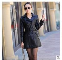 Hot 2014 Autumn New Women Long Leather Jacket Slim Plus Size Bow Belt  Motorcycle PU Leather Long Jacket Coat  Leather Trench