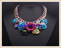 PINK Necklaces & Pendants Hot Sale Transparent Big Resin Crystal Flower Vintage Choker Statement Necklace Fashion Jewelry