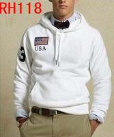 Wholesale New Men's Hooded White USA Flag Polo Hoodies Spring Fall Training Casual Polo Track Sweatshirts Jackets