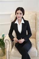New 2014 Autumn Winter Professional Office Work Wear Suit Tops And Pant Pantsuits Beautician Uniforms Plus Size 4XL Blazers Set