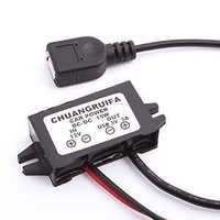 Car Charger Converter 12V To 5V 3A 15W Step Down Module With USB Cable for Phone MP5 GPS (Black)