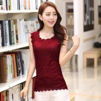2014 New Fashion  Women's Blouses Spaghetti Strap Female Chiffon Small Casual Clothing Sleeveless Lace Vest Basic Shirts3040