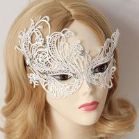 Women Sexy Gothic Rhinestone White Lace Masquerade Face Eye MASK Bobby Pins Patch Phantom Party Mardi Gras Dance Fashion Jewelry