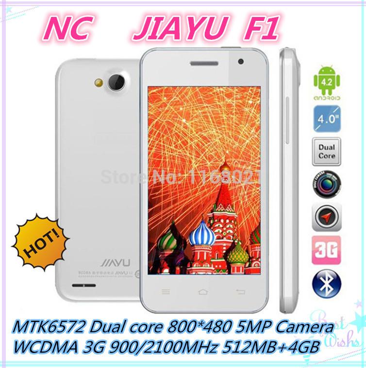 "Original JIAYU F1 3G WCDMA MTK6572 Dual Core Phone 5.0MP 512MB RAM 4G ROM 4"" 800*480 TFT 2400mAh Android 4.2 cell phone(China (Mainland))"