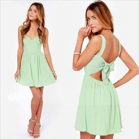 New Fashion 2014 summer women nightclub sexy halter harness bow patchwork V Neck dress women casual dress