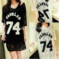 Summer fashion vintage 74 letter applique cutout medium-long loose transparent lace shirt straight loose one-piece dress
