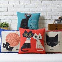 Cat  Kittens Small animals Literary Cute cartoon Animal cotton pillow cushion cover Square Pillow case Home Decor sofa cushions