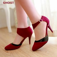2014 new arrival fashion vintage ankle buckle pointed toe Bright flannel high heels pumps woman spring and summer fashion shoes