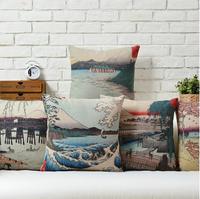 Japanese Creative Arts Pattern Ukiyo-e Mount Fuji Fresh  cotton pillow cushion cover Square Pillow case Home Decor sofa cushions