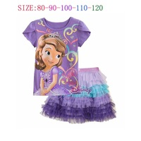 Summer baby girl's clothing sets Girls sofia short-sleeve sets sofia princess t shirts+ skirts 2pcs suit sets freeshipping