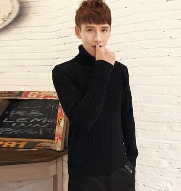 2014 New Men high collar sweater men thickening elastic shirt Slim black turtleneck sweater men fashion twist free shipping(China (Mainland))