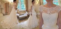 DED25 New Design A-line Sheer Neckline Embelished Tulle& Lace Wedding Dress 2014 Bridal Dress
