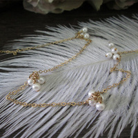 Exclusive Custom 1/20 14kt Gold Filled Natural Freshwater Pearl flowers Pendant 70 CM Long Chain Necklace AGETE