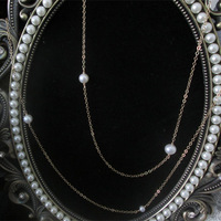 Exclusive Custom Handmade 1/20 14kt Gold Filled Natural Freshwater Pearl Different Size Beads Chain Necklace