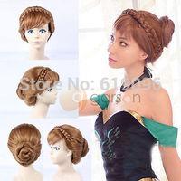 HOT Sell! Frozen Snow Princess Anna Coronation Cosplay Haar Updo Wig