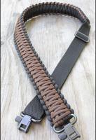 Adjustable Paracord Rifle Gun Sling Strap With Swivels Black & Dark Brown