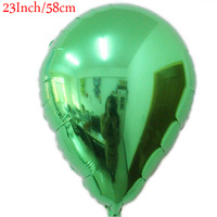 23 Inch GREEN Droplets Shaped  Foil Balloons Birthday Valentine Day Wedding Party Decoration Free Shipping