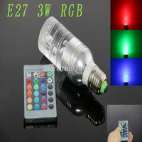 E27 3w RGB Crystal LED Light Silver Medium-sized Cylindrical Bulb With IR Remote Controller (85V-265V)