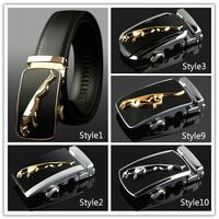 Man Genuine leather belt Cowskin belts Leopard Automatic buckle Brand designer Solid Cintos Cinturon 4 colors M246 New arrival