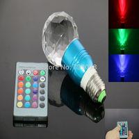 E27 3w RGB Crystal LED Light Blue Glass Ball-shaped Bulb With IR Remote Controller (85V-265V)