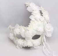 Venice Masquerade Princess Mask Unisex Feathers Lace Full Face White Gold Dust Cosplay Masks