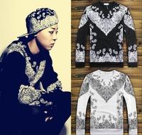 Hot sale 2014 Fashion top Lovers hiphop outwear sportwear baseball paragraph men Paisley clothing long sleeve Bandana sweatshirt