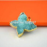 wholesale (8PCS) Gold Plated Edge , Sky Blue Color Drusy drzuzy Quartz butterfly charms pendant Finding