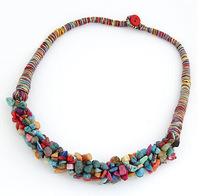 SM1299 Bohemia vintage jewel stone mosaic collar clavicular chain marine necklaces wholesale