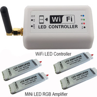 Free shipping Wifi LED Controller+Romote control+ 8pcs mini Amplifier  2.4G 4-zone Wireless RF touch for rgb led strip light