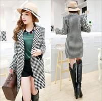 L-4XLsize coats women 2014 new plus size slim printed women's long wool winter coats free shipping