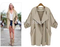 Plus size women windbreaker 2014 autumn new oblique zipper plain color coat women loose thin trench coat with big pocket 5XL