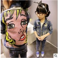 free shipping Retail 1 set denim jacket for girls kids autumn coat long-sleeve fashion cartoon back outerwear in stock