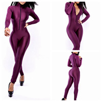 hot sale New Fashion Rompers Women Jumpsuit Sexy Playsuit skinny Bodysuit Bandage Tights overall for women Front zipper purple