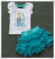 2015 New Girls  Princess Elsa Dress + T shirt 2 Pcs Set 2-12 Age Layered Tutu Dress Sets Clothing Sets, Baby girls sets