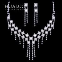 Wholesale Price Cheap Wedding Jewelry Zinc Alloy Rhinestone Tassel Pearl Jewelry Sets  #N1679