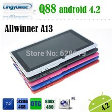 Mais baratos Tablets Android de 7 polegadas A13 A23 ATM7021 Tablets Android 4.2 Q88(China (Mainland))