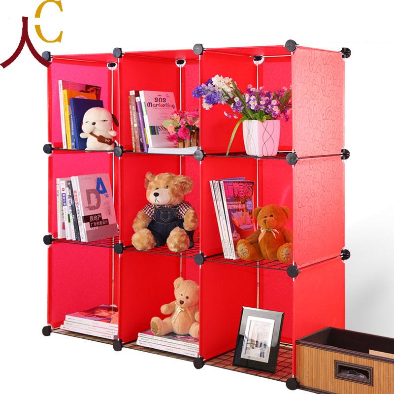 plastic organizer furniture easily receive one family clothes closet for clothes  red bookshelf  closet storage(China (Mainland))