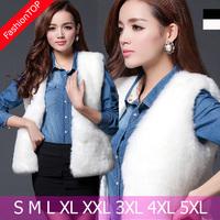F1292 2014 Spring And Autumn Plus Size Women V-neck Faux Mink Fur Vest Black White Sleeveless Fur Tank Coat Female