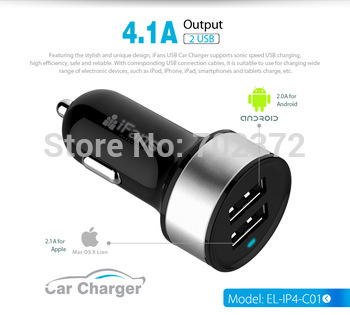 4.1a dual usb автомобильное зарядное устройство вывода красочные адаптер для андроид iphone ipad с мфо сертификации ce, fcc, rohs, электронная- марк