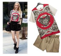 2014 summer chiffon printed  t-shirt women vintage short-sleeved Exaggeration abstract pattern t shirt Plus size 4XL5XL