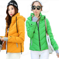 Top Quality Hot Sale New Fashion 2014 Winter Jacket Coat short Down Parka  women green pink yellow white black red