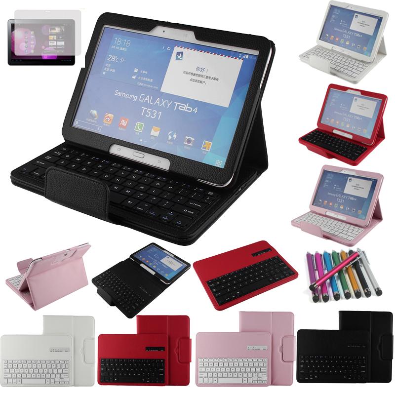 Galaxy Tab 4 10.1 Keyboard Case,Bluetooth Keyboard Case Cover For Samsung Galaxy Tab 4 10.1 T530 Tablet + Free Stylus&Film(China (Mainland))