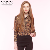 Smss Europe And The United States Women's New Spring Leopard for Grain Loose Single-breasted Sexy Long-sleeved Chiffon Blouse