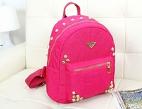 2014 hot selling Backpacks in High Quality cotton Women Backpack with Tassel Rivet