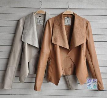 winter 2014 Hot Sell Designers pule Размер Coat Женщины Модный Slim Короткий Кожа ...