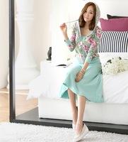 2014 autumn women's 3 pieces set print color block decoration casual knitted full dress sweatshirt set