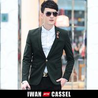 Autumn and winter blackish green classic stripe men's suit casual slim Men blazer fashion brand new quality one button